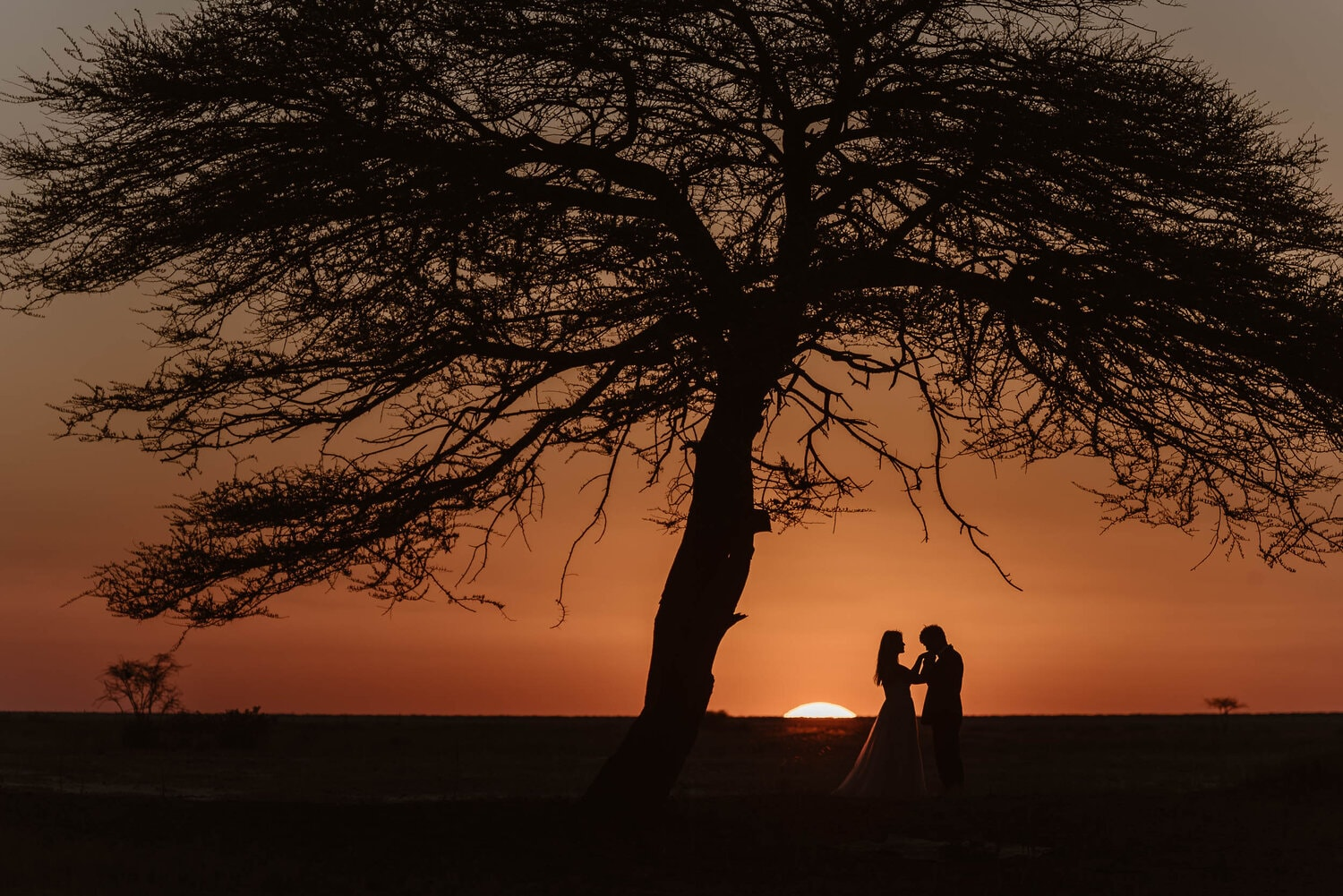 Bride and groom hold hands in front of the sunset.