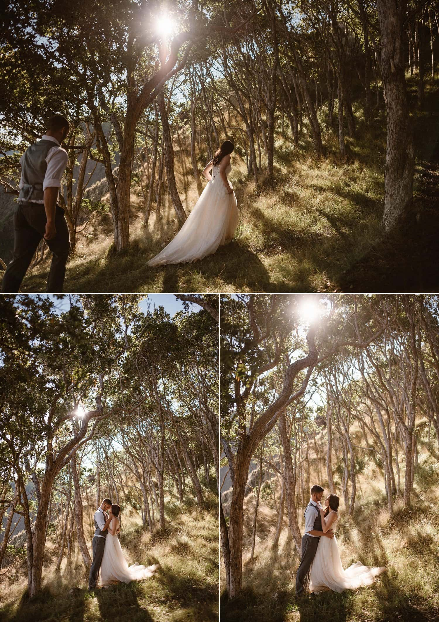 Bride and groom explore the island of Hawaii on their wedding day.