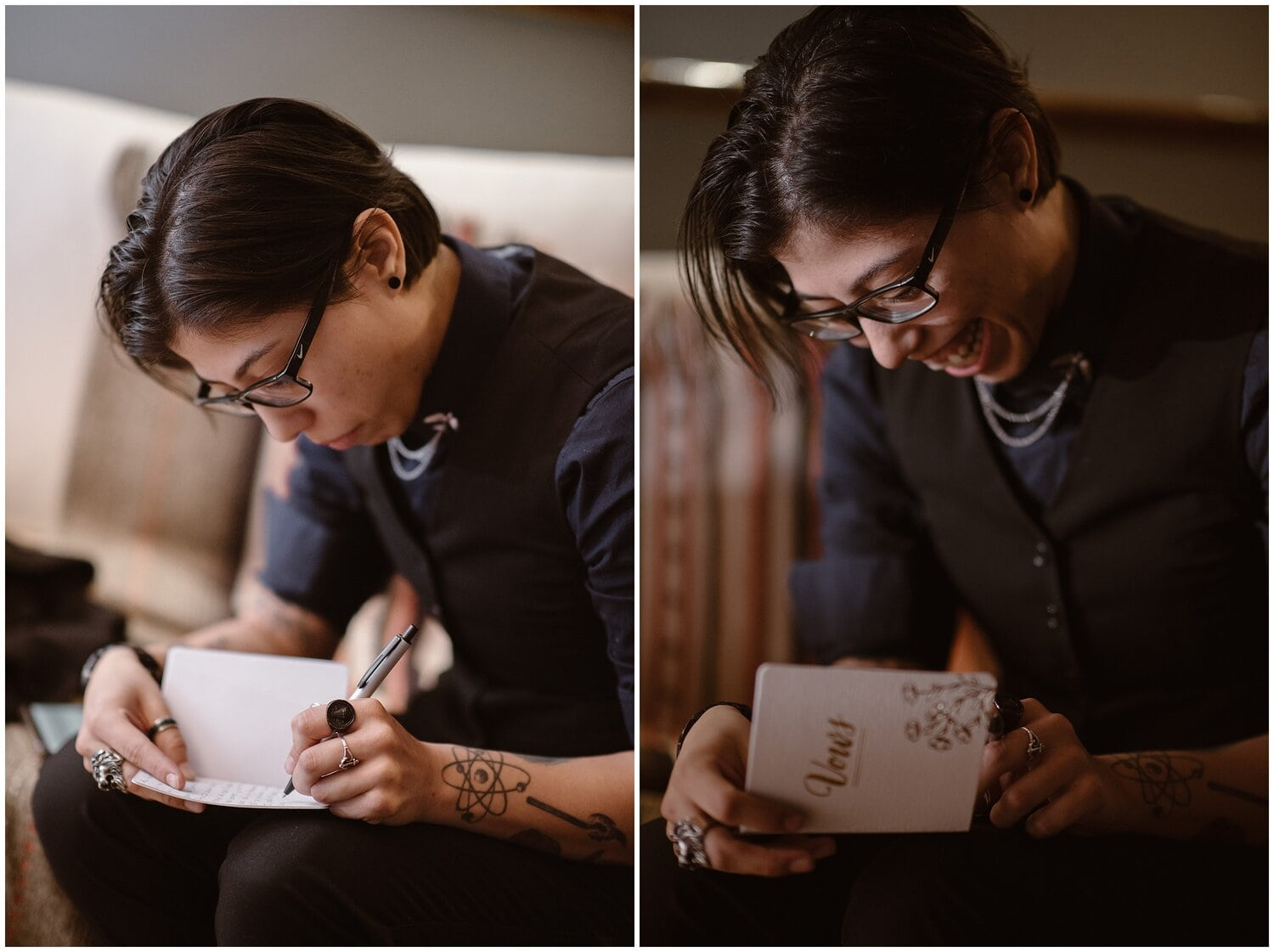 Woman writes her vows in a vow book.