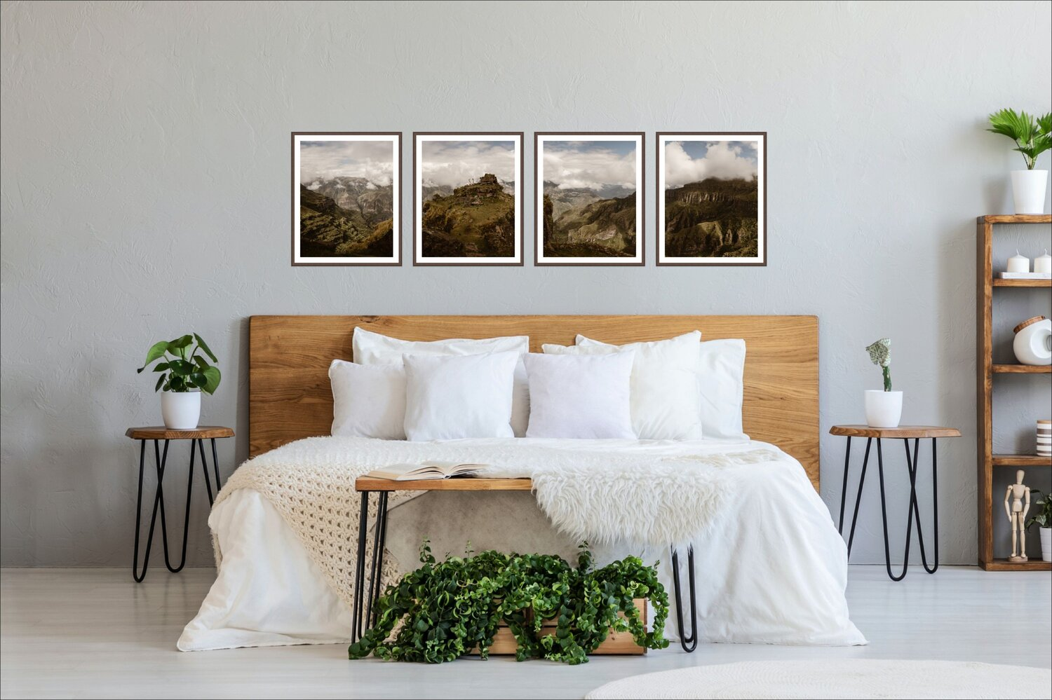 A bedroom with four wedding photos hanging above the bed.