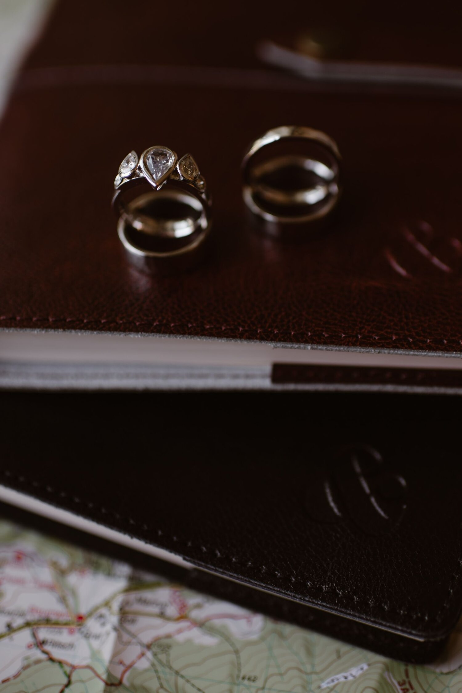 A close-up of wedding rings.