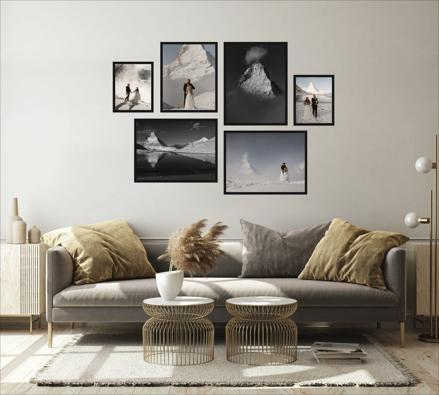 A living room with a collage of six wedding photos hanging above a couch.