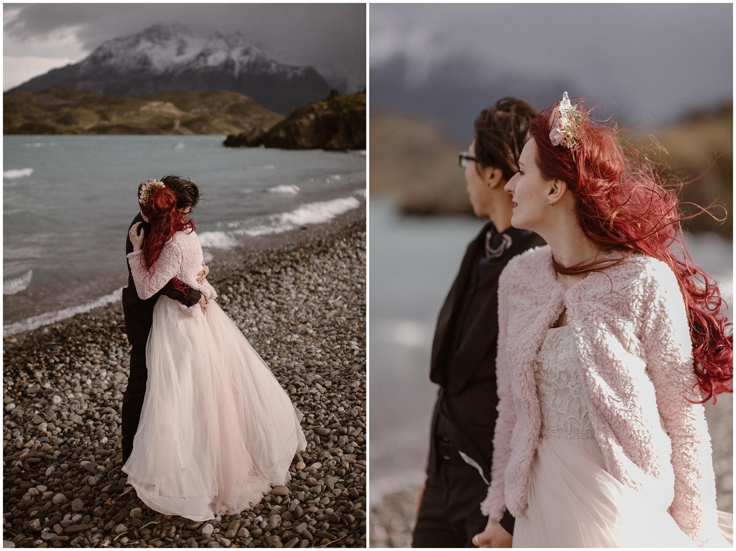 A couple embrace and hold hands on their wedding day in Patagonia.