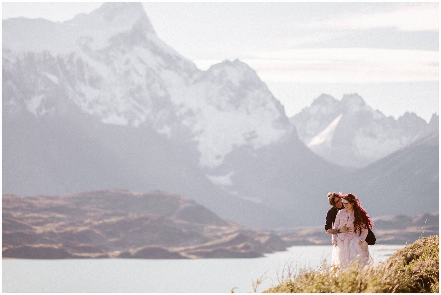Couple embraces on their wedding day in Patagonia.
