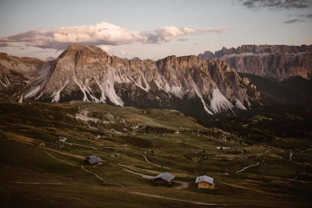 An overview landscape shot of the Italian Dolomites.