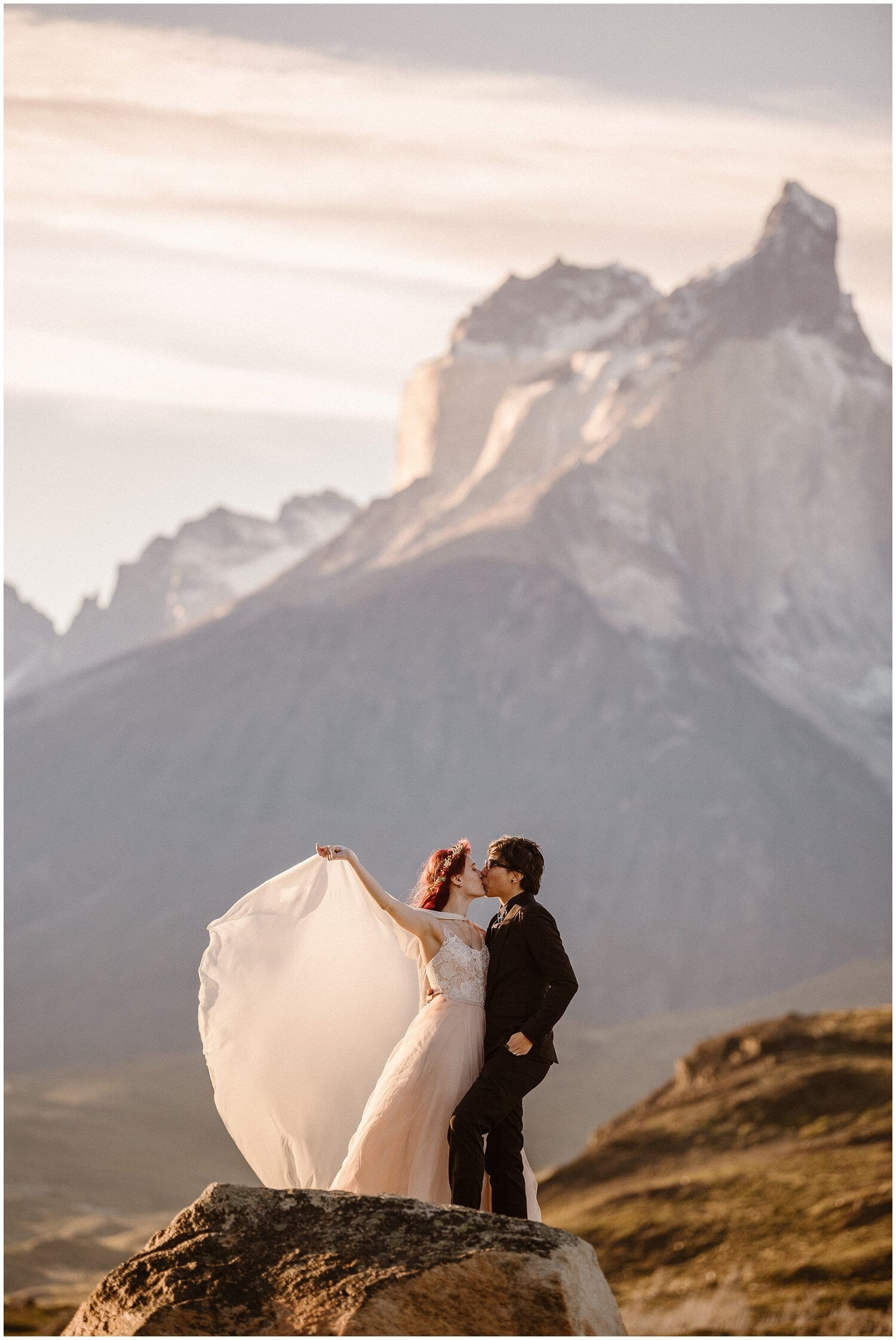 Couple kiss on their wedding day in Patagonia.