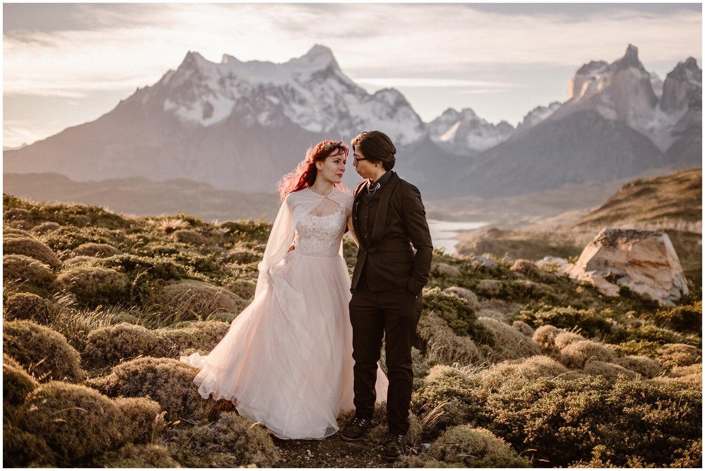 Couple explores Patagonia on their wedding day.