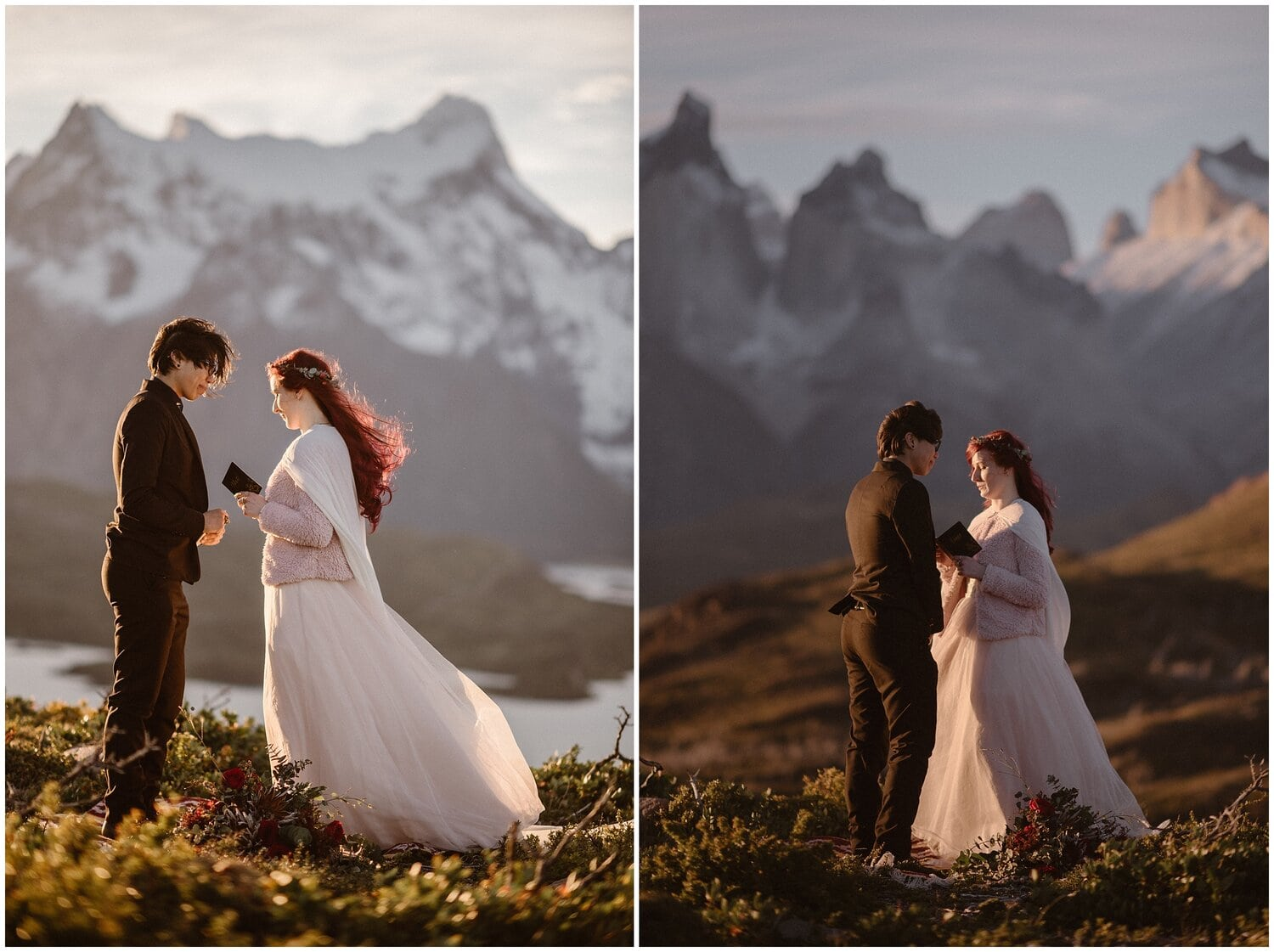 Couple reads vows to each other in Patagonia on their wedding day.