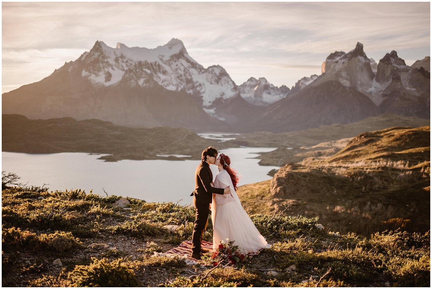 Couple kisses on their wedding day in Patagonia.