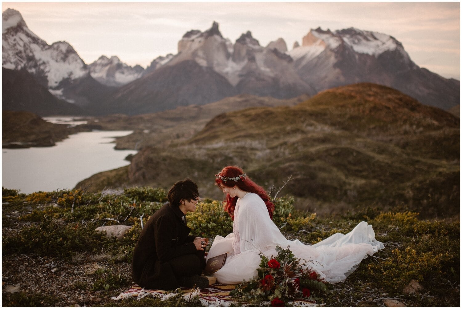 Couple has a picnic in Patagonia.