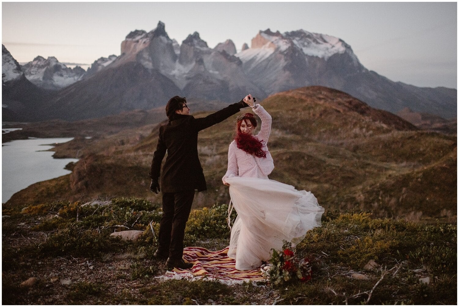 Couple dances on their wedding day in Patagonia.