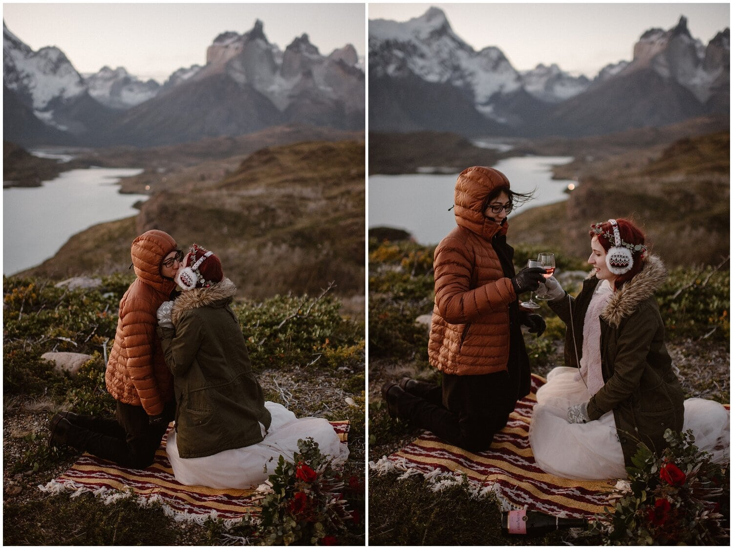 Couple drinks wine at a picnic on their wedding day.