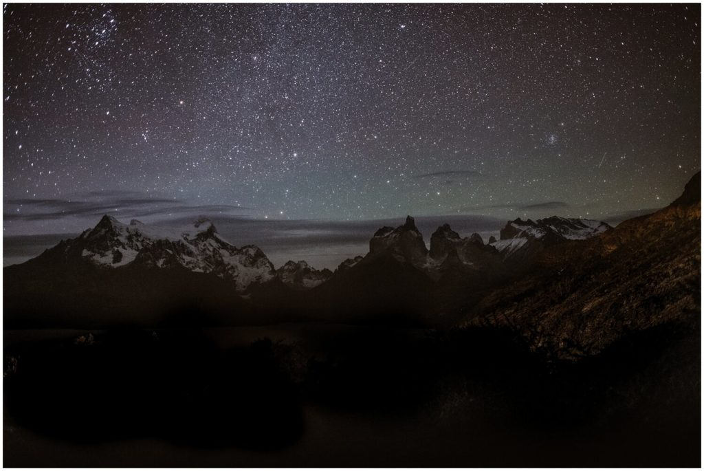 Landscape of Patagonia at night.