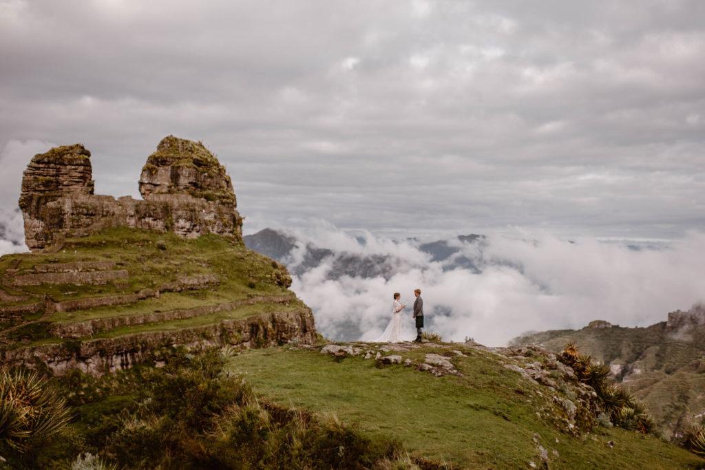 Bride and groom have a wedding ceremony in Peru.