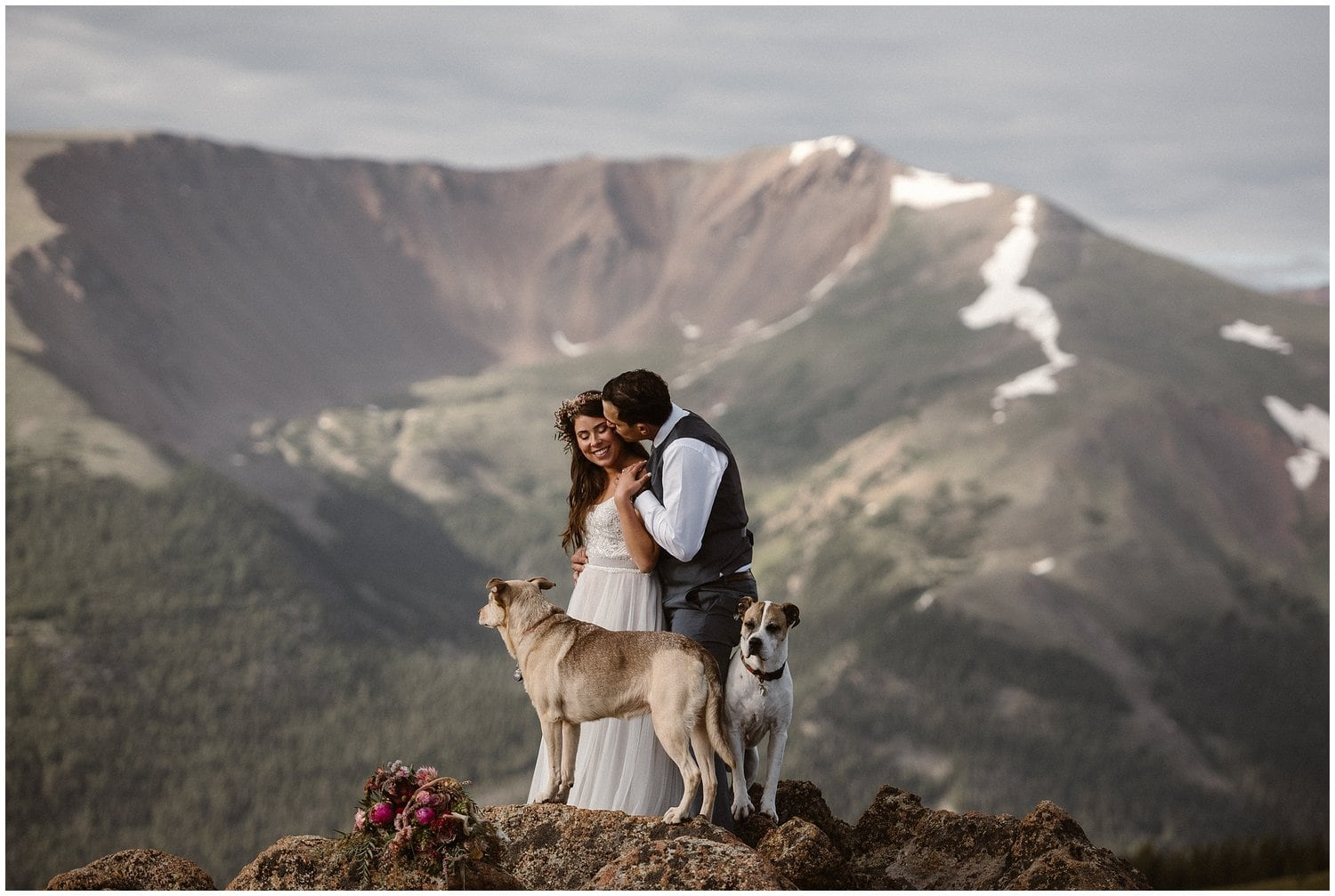 Bride and groom embrace on top of a mountain with their two dogs by their side.