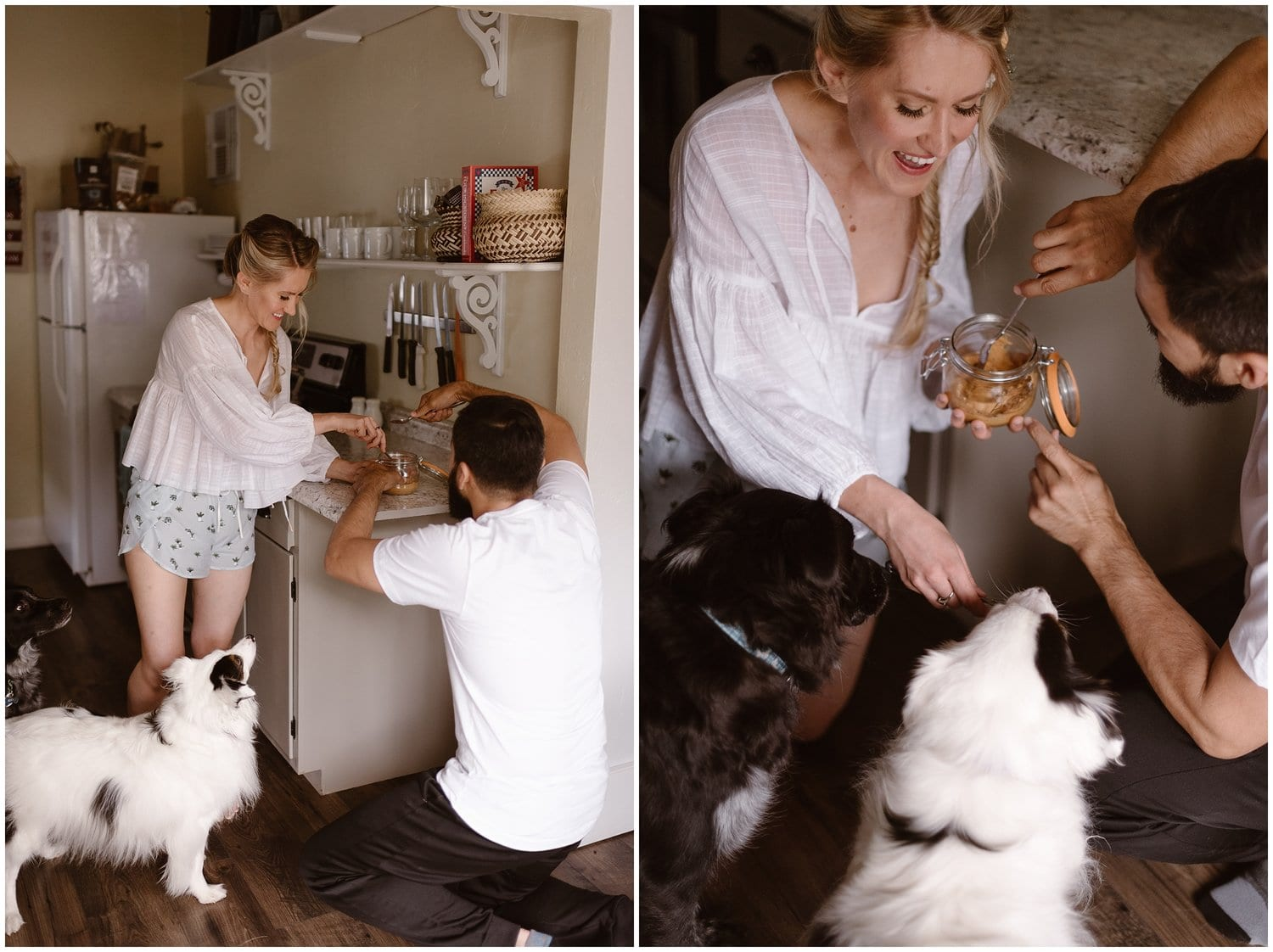Two individual photos of a couple feeding peanut butter from a mason jar to their furry black and white dog.
