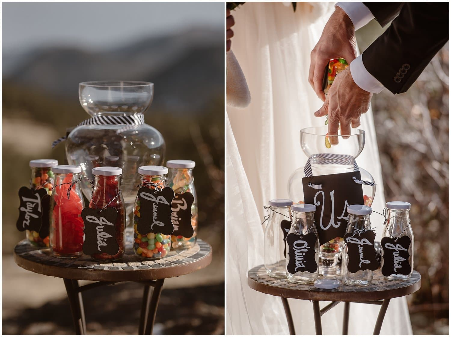 Detailed shot of candy jars on a wedding day.