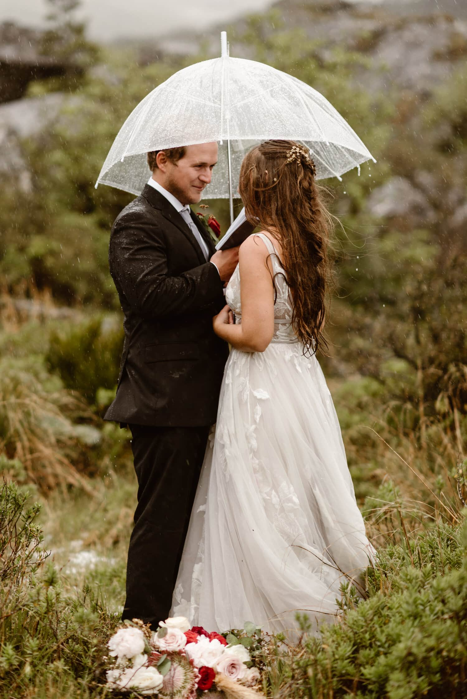 Couple Eloping in New Zealand during the rainy season