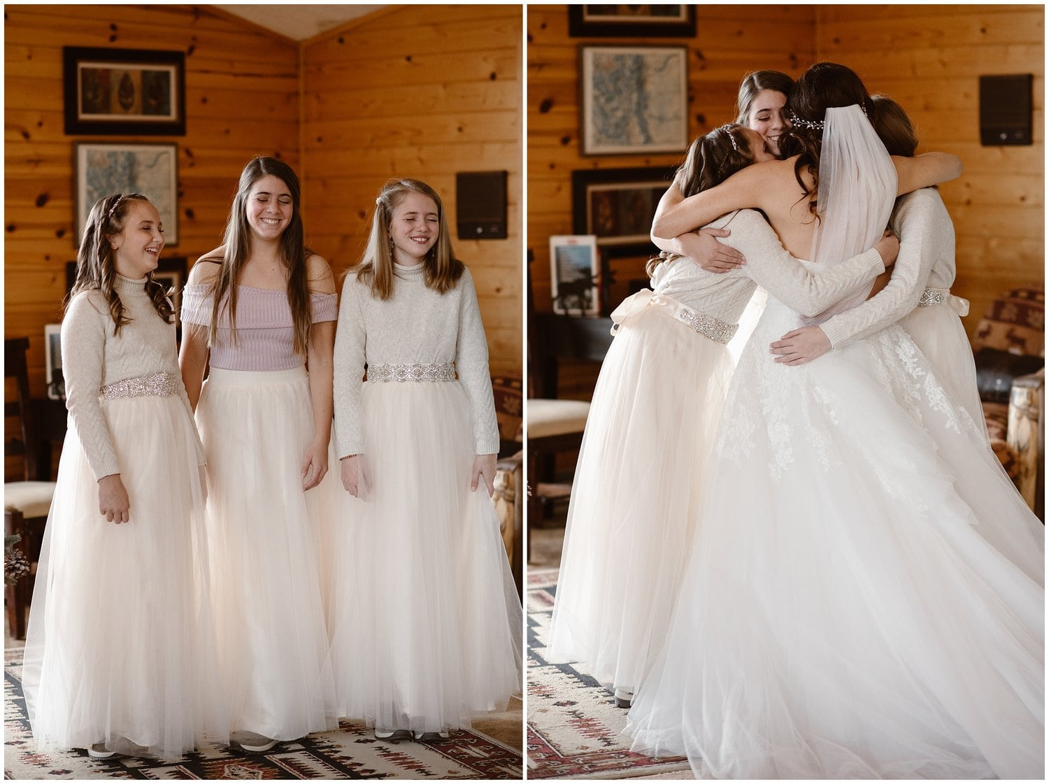 Three girls close their eyes and open them to see their mother in her wedding dress.